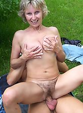 Horny mature MILF has hairy bush soaked in jizz