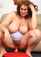 BBW MILF slides her platic friend into her hairy pussy