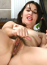 Furry bushed and mature Shelby playing little red riding hood