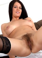 hairy moms, Kandie Luv in a sexy corset and lingerie
