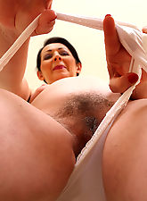 Hot 50 year old Anna showing off her furry pits