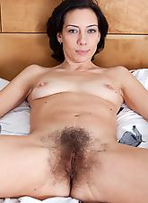 hairy armpits, Eva pinches her pink puffy nipples